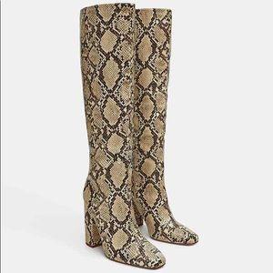 Zara snakeskin print boots size 7.5